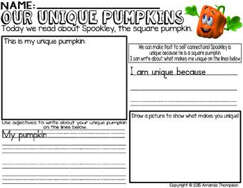 Unique Pumpkins- Spookley the Square Pumpkin- Text to Self Connections *FREEBIE*