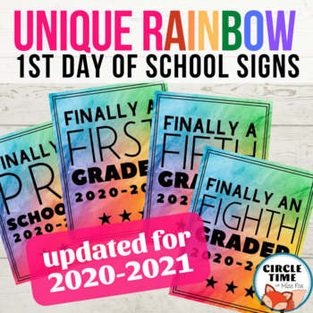 image regarding First Day of School Sign Printable named Exceptional Rainbow Initial Working day Symptoms, Printable Initially Working day of College Signal 2019-20