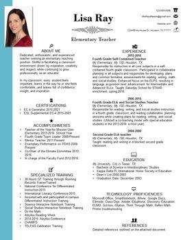 Unique Resume Template for Teachers
