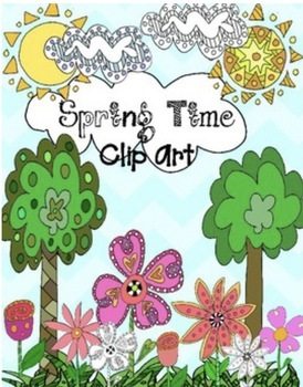 Hand Drawn Spring Time Doodle  Clip Art Commercial Use  Graphics