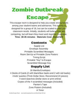 image about Escape Room Printable known as Distinctive Employees Builder: Zombie Outbreak Escape Place