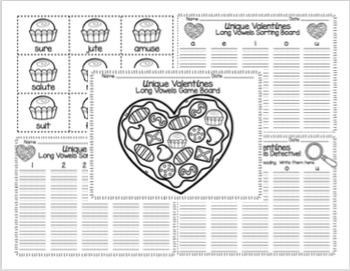 Unique Valentines Long a, e, i, o, and u Game