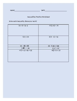 Unique Variables Multi-step Inequalities Worksheet with Answers