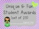 Unique and Fun Student Awards (set of 25)