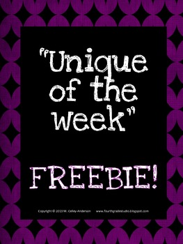 Unique of the Week Freebie