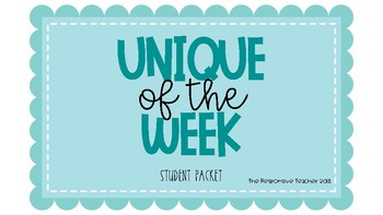 Unique of the Week Student Packet
