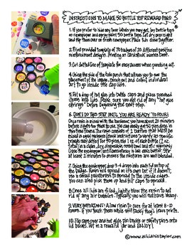 Unique student reward: recycled bottle top pins - tutorial, template, ideas