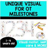 Unique visual for visual motor, fine motor & self help 34 milestones ages 1 - 4