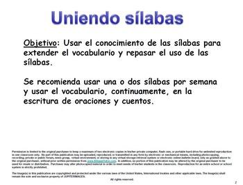 Spanish Letter-Sound to Syllable Correspondence/Unir sílabas por letra