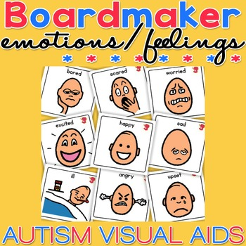Unisex Emotion / Feelings Cards - Boardmaker Visual Aids for Autism