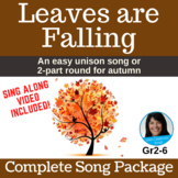Fall - Autumn   Unison Song or 2-Part Round   mp3, Music, Lessons, SMART, Video