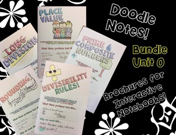 BUNDLE Unit:Review Skills - Doodle Notes Brochures for Interactive Notebooks