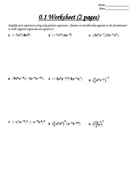 Unit 0 Worksheets (ALG 2) - Solving Equations (All Types) and Inequalities