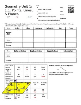 Geometry Unit 1: 1.1 Worksheet: Points, Lines, & Planes