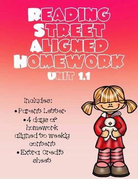 Unit 1.1 Reading Street Aligned Homework