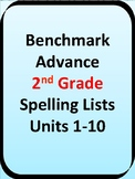 Unit 1-10 Benchmark Advance Second Grade Spelling Lists