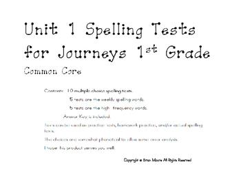 Unit 1-6 Spelling Test for Journeys 1st Grade Common Core- Bundled