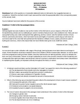 Unit 1 AP World Stimulus Multiple Choice Assessment - Up to 600 BCE