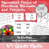 Equivalency & Percents Activities - (6th Grade Math TEKS 6.4E-G and 6.5B-C)