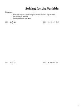 Unit 1 Activity 7 - Solving for the Variable