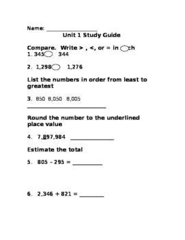 Unit 1 Addition and Subtraction