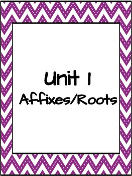 Vocabulary Unit 1 Affixes/Roots Word Wall