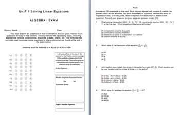 Unit 1 Assessment and Review (Solving Linear Equations)