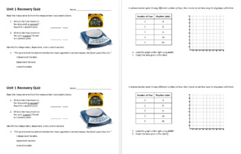Unit 1 - Binder Divider, Test, and Recovery Quiz