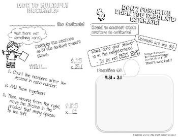 BUNDLE Unit: Decimals - Doodle Note Brochures for Interactive Notebooks