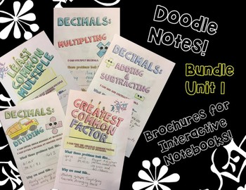 BUNDLE Unit: Decimals - Math Doodle Note Brochures for Interactive Notebooks