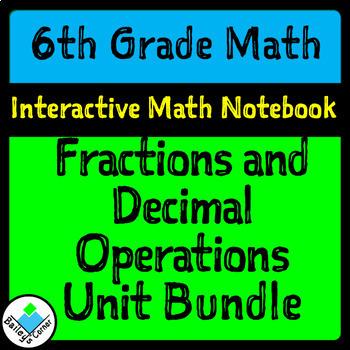 Unit 1 Bundle for 6th Grade Math Notebook: Fraction/Decimal Operations