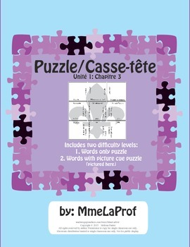 Unit 1, Ch 3: 3x3 Word Puzzle: Beginner Level French: language and living