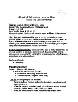 Unit 1 Cooperation #2 K-2 PE (Physical Educaiton)
