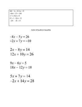 Unit 1 Coordinate Algebra Review Stations