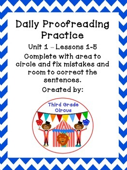 Unit 1 Daily Proofreading and Language Practice (DLP) for 3rd Grade Journeys