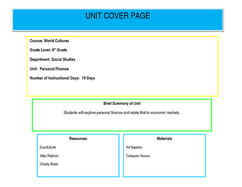 Unit 1 Design: Personal Finance (Colorado) 6th Grade