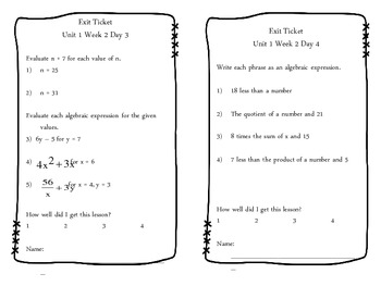Unit 1 Exit Tickets (Number and Operations)