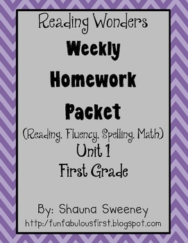 Unit 1 First Grade Homework Packet- McGraw Hill's Reading Wonders
