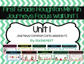 Unit 1 Focus Wall for Journeys First Grade Chevron Includes Lessons 1-5