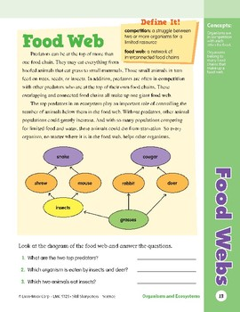 Unit 1: Food Webs: Concepts (Skill Sharpeners:Science)