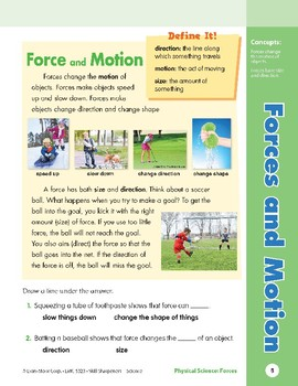 Unit 1: Forces and Motion: Concepts (Skill Sharpeners: Science)