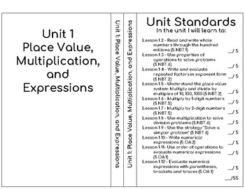 Unit 1 GO Math 5th Grade Interactive Notebook Label