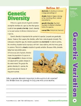 Unit 1: Genetic Variation: Concepts (Skill Sharpeners: Science)