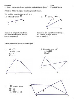 Unit 1 Geometry Notes and Homework Packet