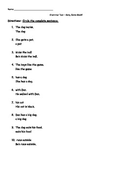 1st grade Unit 1 Grammar Test Scott Foresman Reading Street
