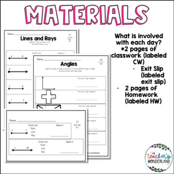 Unit 1-4th Grade Guided Math-Lines, Rays & Angles