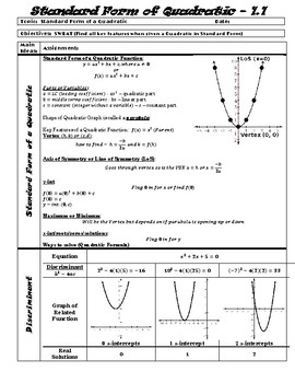 Unit 1 Guided Notes - All Things Quadratic and Other Polynomials (ALG 2)