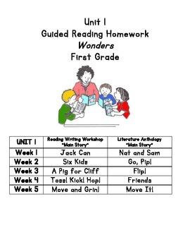 Unit 1 Guided Reading Homework Wonders Grade 1