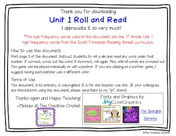 Unit 1 (Reading Street) High Frequency Word Roll and Read Game