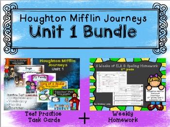 Unit 1 Houghton Mifflin Journeys BUNDLE (Homework & Test P